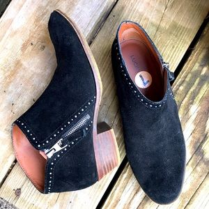 Lucky Brand Benna Black Suede Ankle Boots 7